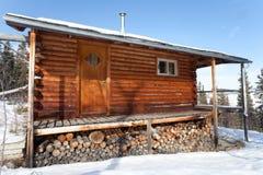 Log Cabin in winter stock image