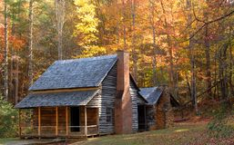Log cabin in a wooded setting Stock Image
