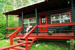 Log cabin woods Stock Photo