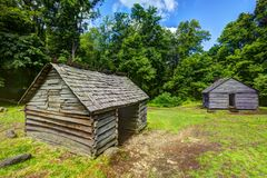 Log Cabins in the Great Smoky Mountains Stock Images