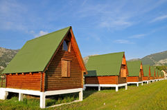 Log cabins in the row Royalty Free Stock Photo