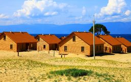 Log cabins under construction Royalty Free Stock Photography