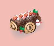 Log cake for Christmas Stock Image