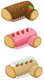 Log cake for Christmas vector set Stock Image
