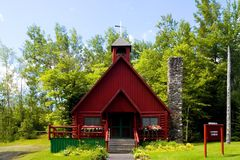Log Church - 2. Unique little community church built out of logs in Rockwood, Maine Royalty Free Stock Photo
