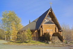 Log church, Haines Junction, Yukon, Canada stock photography