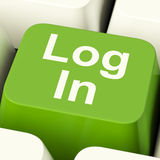 Log In Computer Key Green Stock Images