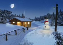 Log cottage in a winter christmas scene. Cozy log cottage in a winter scene with snowman, christmas lights and a big moon on the sky Royalty Free Stock Image