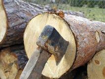 Log de bois avec la hache coincée photo libre de droits