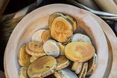 Log de madeira cortado em partes finas redondas Imagem de Stock Royalty Free