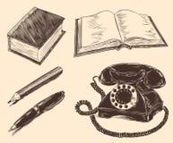 Log do telefone, lápis, pena ilustração da mão do narisovanna Gravura retro do vintage fotografia de stock