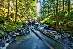 Log driving facility and river Royalty Free Stock Image