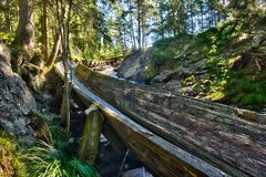 Log driving water canal Royalty Free Stock Images