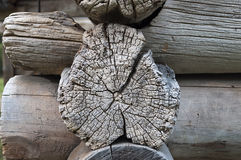 Log end of ancient wooden chapel Royalty Free Stock Photos