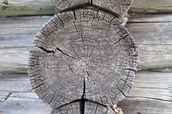 Log end of old wooden house Stock Image