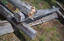 Log Fence In Bend Oregon Royalty Free Stock Photography