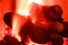 Log Fire. A burning red log fire Royalty Free Stock Photos