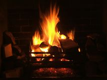 Log Fire. Cosy log fire royalty free stock image