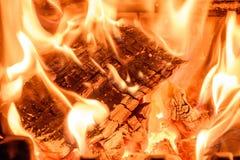 Log Fire Close Up Stock Photography