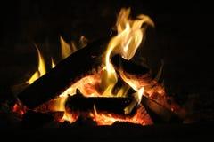 Log Fire. Cozy Log Fire Royalty Free Stock Photos