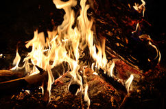 A log fire with a great night Royalty Free Stock Photography