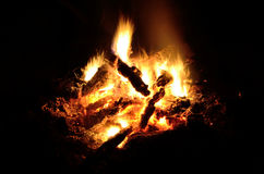 A log fire with a great night Royalty Free Stock Photo