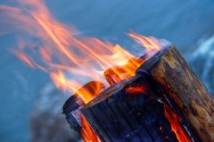 Log in fire. Single log in fire on the beach , called lumberjack's candle in Finland Stock Photography