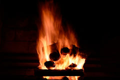 A log fire Stock Photography