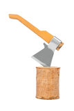 Log fire wood and axe. Isolated on a white background Stock Images