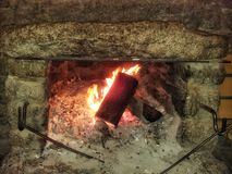 Log in fireplace Royalty Free Stock Photography