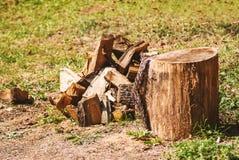 Log and firewod Stock Image
