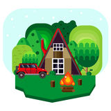 Log forest cabin. Royalty Free Stock Images