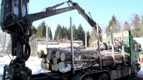 Log forwarder slowly unloading the logs from the green truck Royalty Free Stock Photos