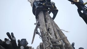 Log grappler getting pieces of logs. Deforestation for Industrial production, mechanical gripper unloading lumber