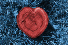 Log heart. Manipulated closeup of a red heart shaped log between blue grass stock images