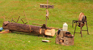 Log Hewing Demonstration Royalty Free Stock Photo