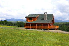 Log home. Newly constructed log home in Maine Royalty Free Stock Photo