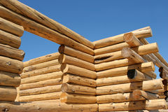Log home construction. Exterior frame of a log home under construction Royalty Free Stock Photography