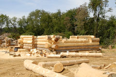 Log Home Construction Stock Image