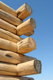 Log home construction detail. Corner close up of a log home under construction royalty free stock image