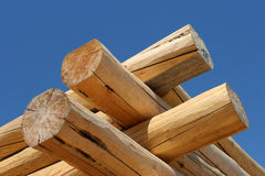 Log home construction detail. Corner close up of a log home under construction Royalty Free Stock Photos