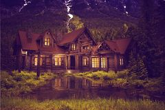 Log Home on the Lake Stock Photography