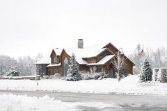 Log Home In The Snow Royalty Free Stock Photos