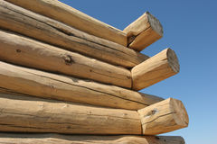 Log home under construction. Close up of a log home under construction Royalty Free Stock Photography