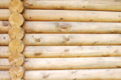 Log home wall detail. Exterior wall detail of a log home under construction stock photo