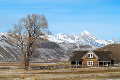 Log House. On Elk Refuge Stock Image