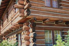Log House. Corner wall of traditional house made from logs - lodge at Mt. Rainier royalty free stock photos