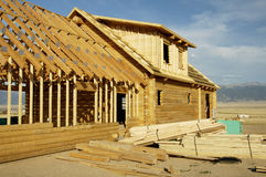 Log House 2. A new log house being constructed in Montana Stock Photography