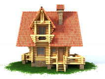 Log house 3d illustration. Isolated on white background Royalty Free Stock Photos