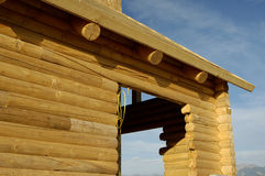 Log House 8. Details of a new log house under construction Royalty Free Stock Photography